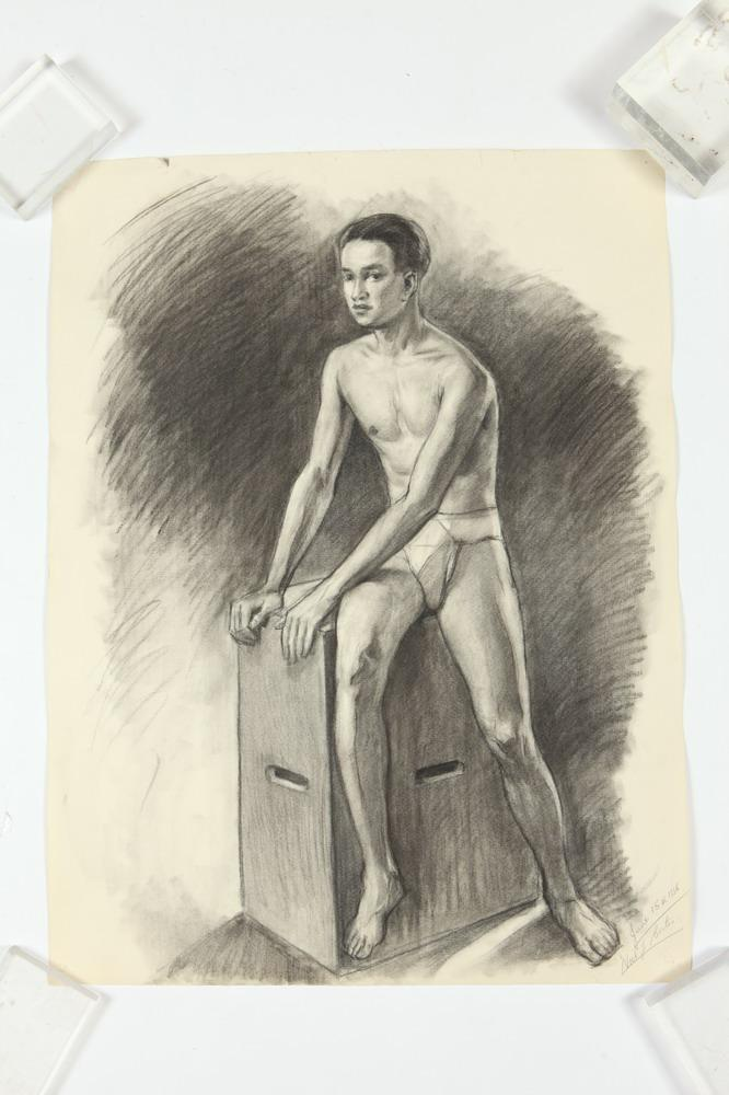 NOEL J. CORTES (Filipino/American, 1907-1975). MALE FIGURAL STUDIES: THREE WORKS, ( GAY INTEREST), each signed and dated lower right. C