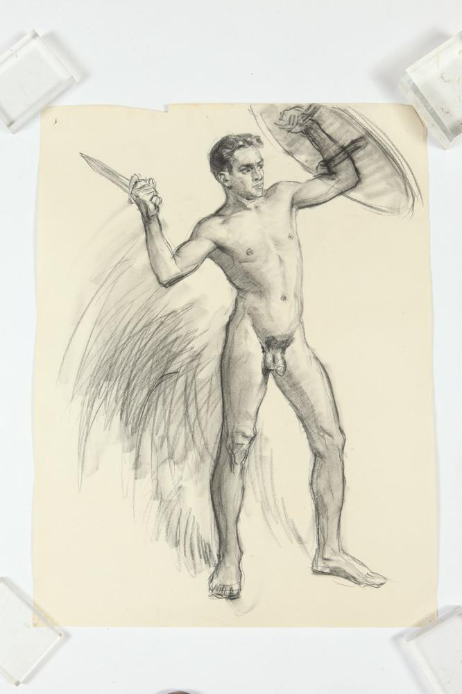 NOEL J. CORTES (Filipino/American, 1907-1975). MALE NUDE STUDIES: THREE WORKS, (GAY INTEREST), two of the three signed and dated. Charc