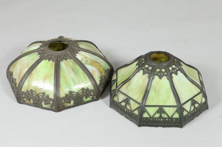 TWO 20TH CENTURY SLAG GLASS LAMP OR CHANDELIER SHADES, Both Unmarked. - Diameters: 16