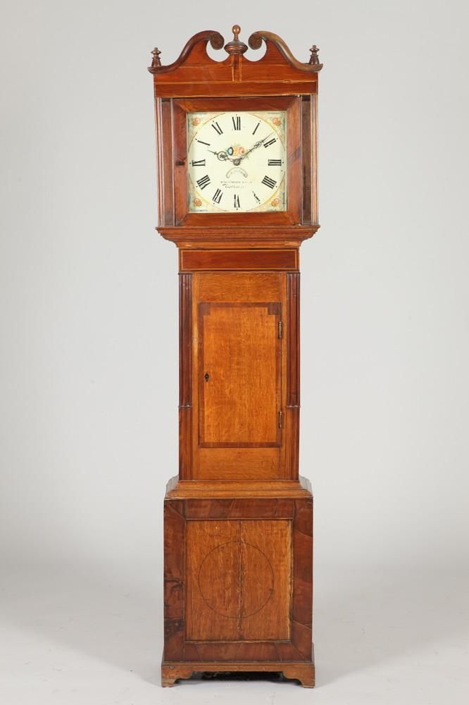 ANTIQUE ENGLISH WHITMORE & SON OAK AND OTHER WOOD INLAID TALL CASE CLOCK. Mid-19th Century. Dial marked Whitmore & Son, Northampton. -