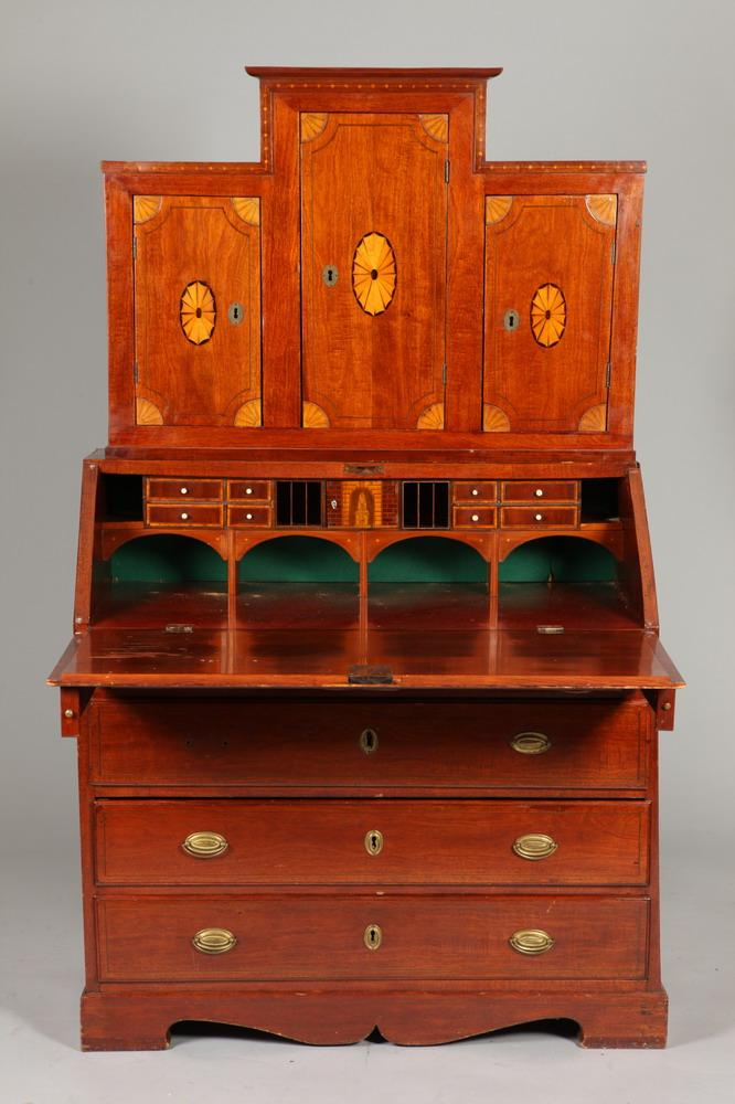 GEORGE III MAHOGANY SLANT FRONT TWO-PART SECRETARY, 18th/19th Century. - 71