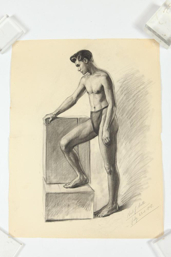 NOEL J. CORTES (Filipino/American, 1907-1925). MALE NUDE STUDIES: FOUR WORKS, (GAY INTEREST), each signed and dated. One in