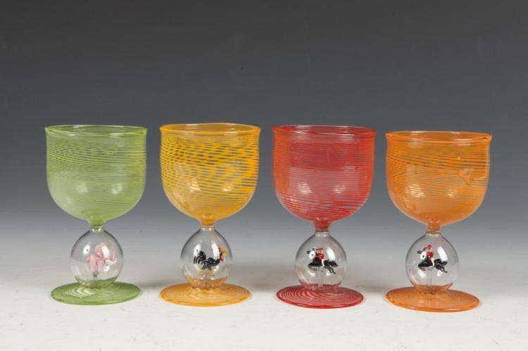 FOUR VINTAGE MURANO GLASSES WITH VARIOUS ANIMALS TO BLOWN STEM. Unmarked. - Each 4 1/4