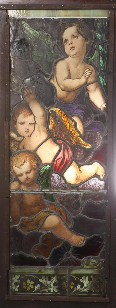TWO LATE 19TH CENTURY ECCESIASTICAL STAINED GLASS PANELS. One marked Pat. September 22, 1891.