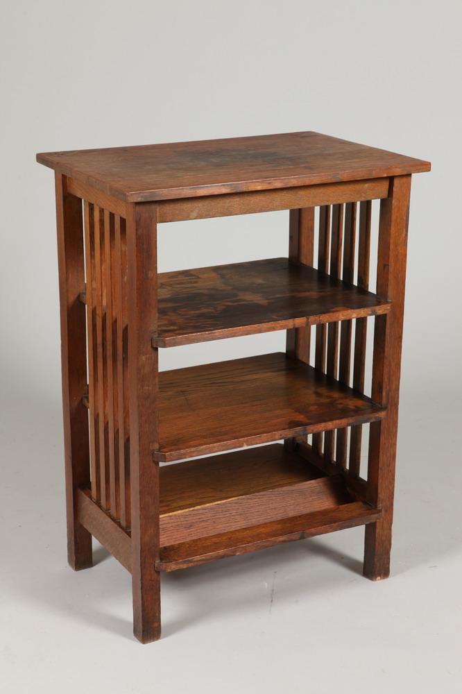EARLY 20TH CENTURY MISSION OAK THREE SHELF OPEN BOOKCASE. Early 20th Century. Unmarked. - 35 7/8