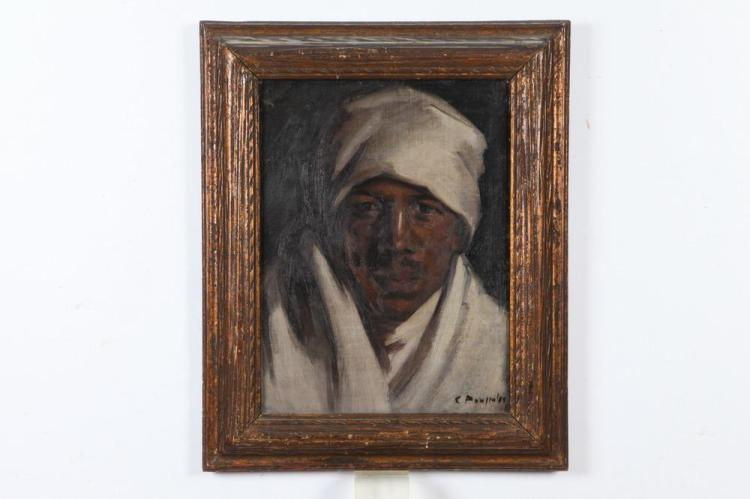 C. POUJIULES (20th century). NORTH AFRICAN TRIBESMAN, signed lower right. Oil on board.