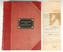 RED QUARTER-LEATHER BOUND COLLECTION OF AUTOGRAPHED PRESIDENTIAL LETTERS, NOTES AND DOCUMENTS -WASHINGTON THROUGH FDR. The McKinley Mem