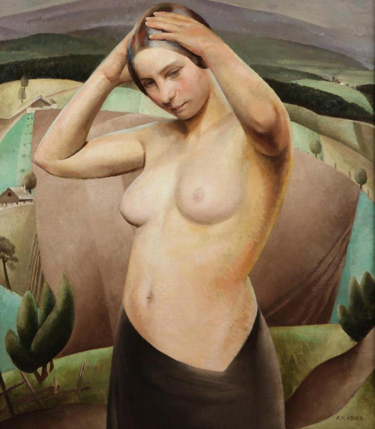 FLORENCE MAY ASHER. (British, b. 1888). IN THE TERRA, ( FEMALE NUDE ), signed lower right. Oil on canvas.