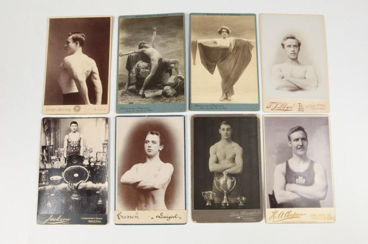 EIGHT EUROPEAN CABINET CARDS OF MALE ATHLETES AND THESPIANS, GAY INTEREST, circa 1900. - Images each app.: 5.75 in. x 4 in.