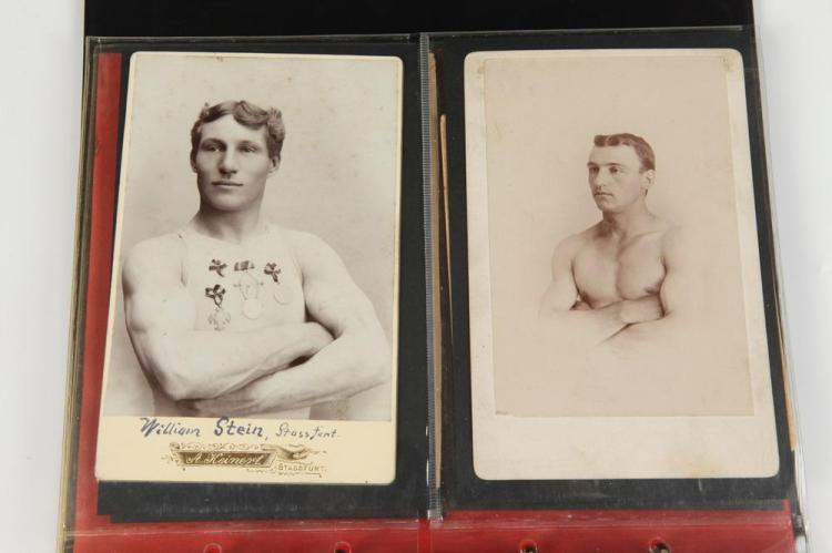 TWENTY PHOTOGRAPHS OF MALE ATHLETES, GAY INTEREST, circa 1900. - Most images app. 5.5 in. x 3.5 in.