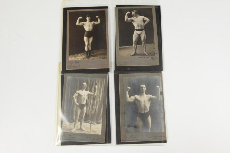 EIGHT FRENCH MALE PHYSIQUE CABINET CARDS, GAY INTEREST, circa 1900. - Images, 5.25 in. x 4 in.