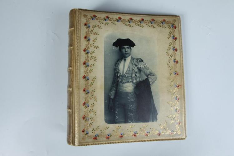 WILHELM VON GLOEDEN, ALBUM WITH TWO PHOTOGRAPHS, circa 1900. - Album: 12 in. x 11 in.