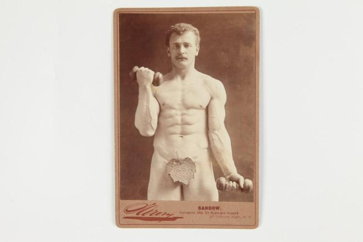 CABINET CARD OF EUGEN SANDOW, circa 1895. - 6.5 x 4 in.