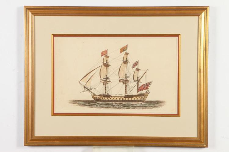 GILTWOOD FRAMED EARLY 19TH CENTURY, OF THE PERIOD, AQUATINT OF A BRITISH SAILING SHIP. Published by Edward Orme, Printseller to the Que