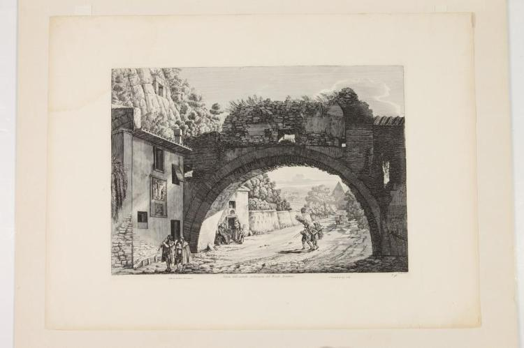 TWO 19TH CENTURY, OF THE PERIOD, MATTED ROSSINI ARCHITECTURAL ETCHINGS, Circa 1823, from Le Antichita Romane. Published in Rome.