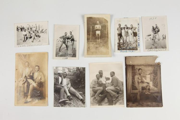 VERNACULAR PHOTOGRAPHY, AFRICAN-AMERICANS, GAY INTEREST, early 20th century. - Images 6 in. x 4 in. and smaller.