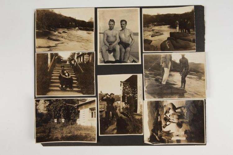 PHOTOGRAPHS OF MEN, GAY INTEREST, early 20th century. - Largest image, 6.5 in. x 4.5 in.