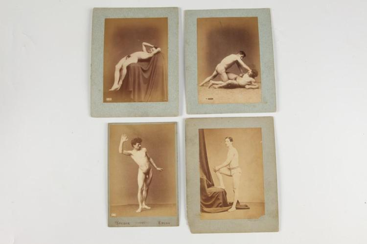 FRENCH NUDE STUDIES OF MEN AND A SMALL CHILD, GAY INTEREST, late 19th century. - Images 5.5 in. x 4 in.