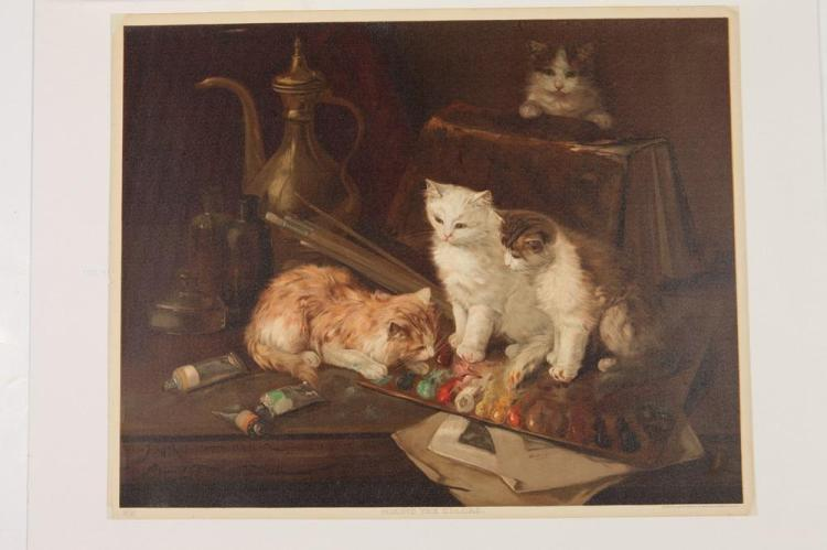MATTED LATE 19TH CENTURY, OF THE PERIOD, LITHOGRAPH DEPICTING KITTENS PLAYING IN AN ARTISTS PALETTE. Published Amlico Publishing Co. Ne