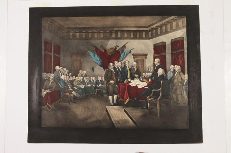 THREE MATTED, OF THE PERIOD, 19TH CENTURY PRINTS RELATED TO THE AMERICAN REVOLUTION, All are 19th Century.