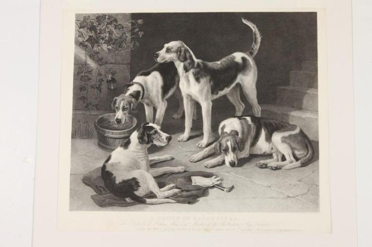 FOUR 19TH CENTURY, OF THE PERIOD, MATTED SPORTING PRINTS: DEPICTIONS OF HOUNDS & STEEPLECHASE SCENES. All are of the period, with publi
