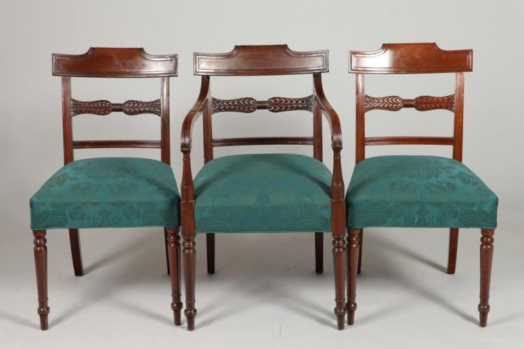 FOUR 19TH CENTURY REGENCY MAHOGANY DINING CHAIRS UPHOSLTERED IN GREEN, 19th Century.