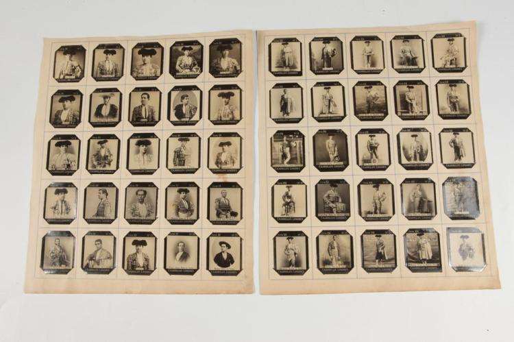 FIFTY CIGARETTE CARDS OF MATADORS, AND BULLFIGHTERS, - Each card 2.125 in x 1.75 in.
