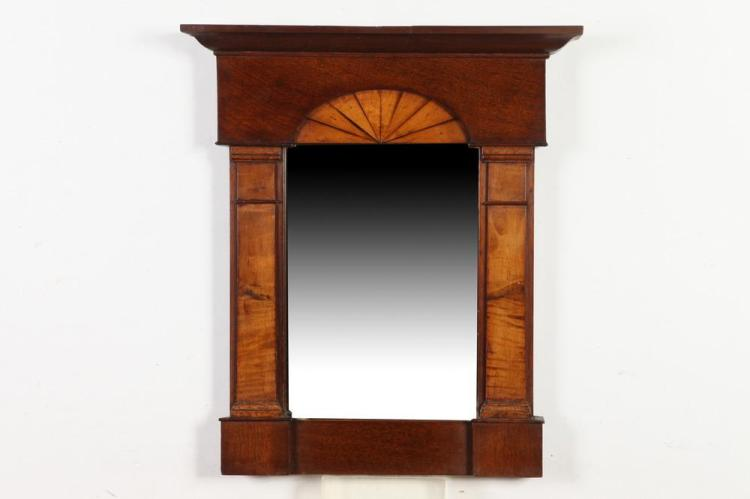 SMALL FEDERAL MAHOGANY MIRROR WITH OLD GLASS, 18th/19th Century. - 22