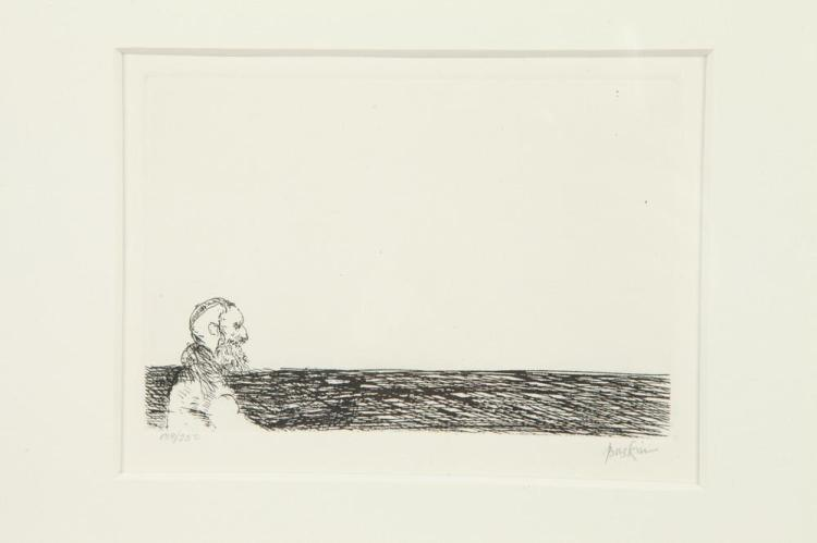 LEONARD BASKIN. (American 1922-2000). RABBI IN SOLITUDE, signed and numbered 189/250 in pencil lower margin. Etching.