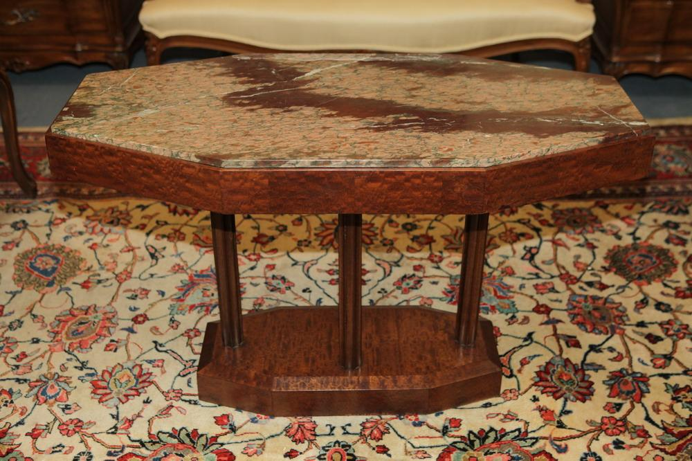ART DECO MARBLE TOP BURLWOOD COCKTAIL TABLE, Circa 1920's. Unmarked. - 24