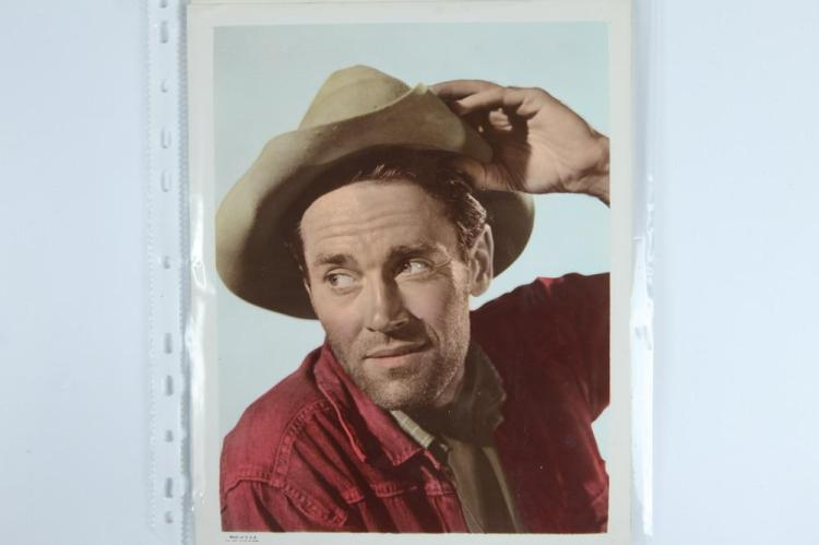 EIGHT AUTOGRAPH-SIGNED AND OTHER BLACK AND WHITE AND COLOR PHOTOGRAPHS OF ACTORS PLAYING COWBOYS, American, 20th century.