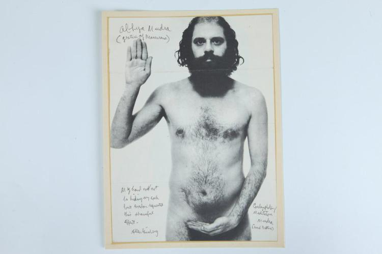 RICHARD AVEDON BLACK AND WHITE PHOTOGRAPH OF ALLEN GINSBURG SIGNED AND INSCRIBED.