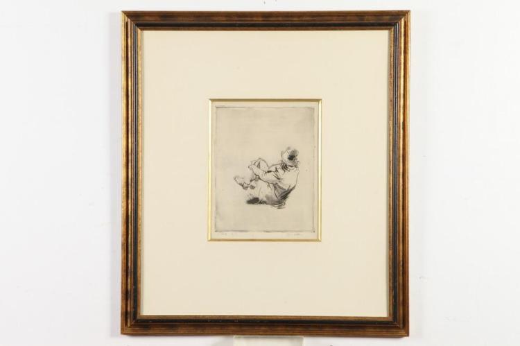 JACQUES VILLON (French, 1875-1963). BOHÉME AUX CHAMPS BIBI LA PURÉE, signed and numbered
