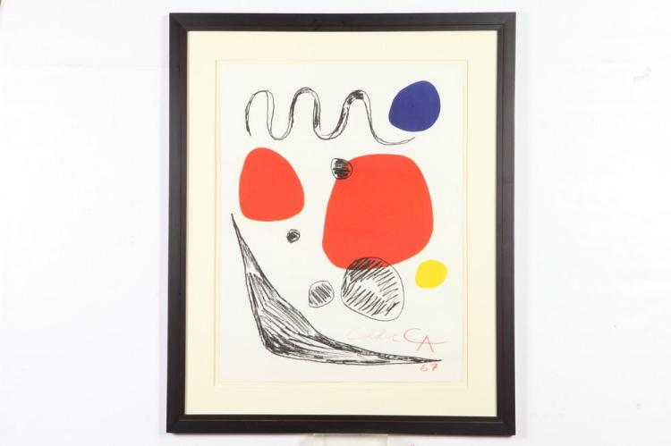 ALEXANDER CALDER. (American, 1898-1976). RED, BLUE, AND YELLOW SPHERES, signed. Color lithograph.
