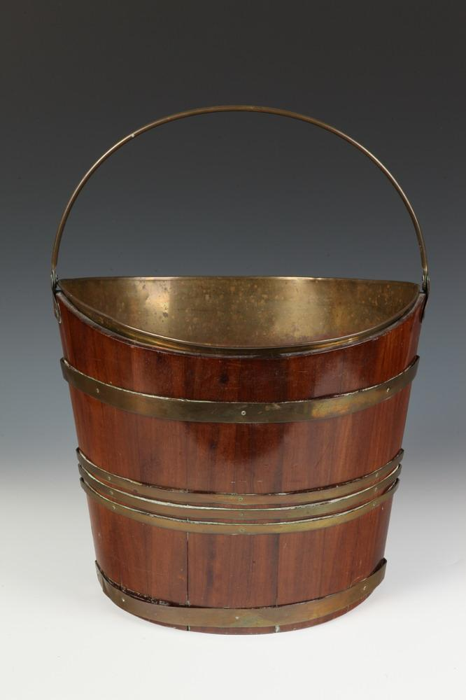 GEORGE III BRASS STRAP-SIDED MAHOGANY BAIL HANDLED PEAT BUCKET. 18th/19th Century. Unmarked. - 12 5/8