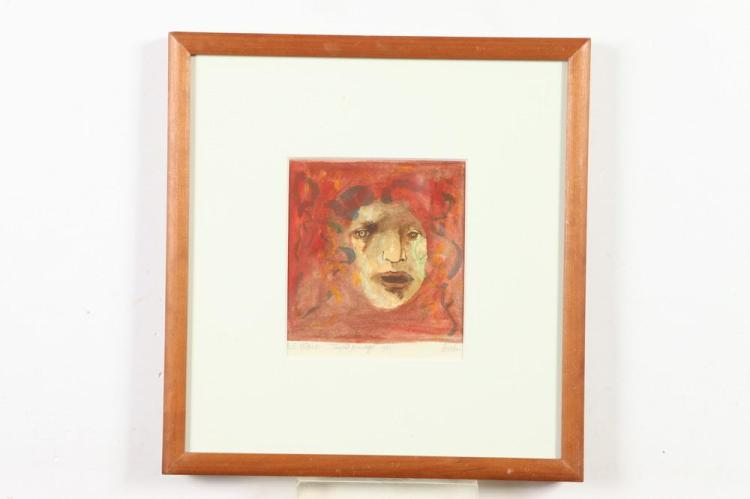 LEONARD BASKIN (American, 1922-2000). RED MEDUSA, signed, titled and dated 1982 in pencil lower margin. Monotype.