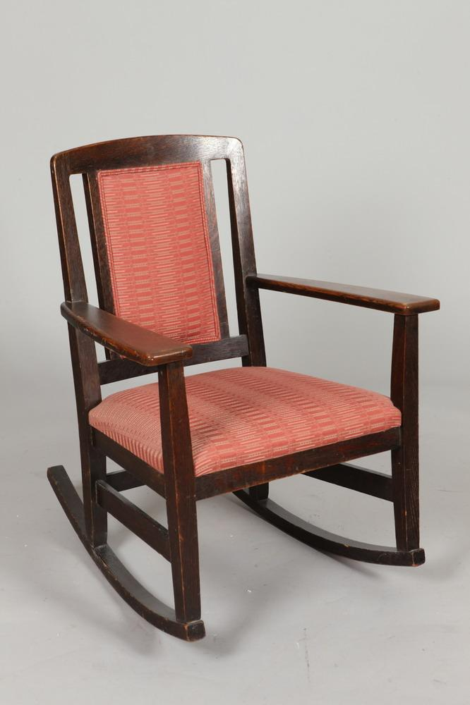 EARLY 20TH CENTURY MISSION OAK ROCKING CHAIR, Early 20th Century. Unmarked. - 34