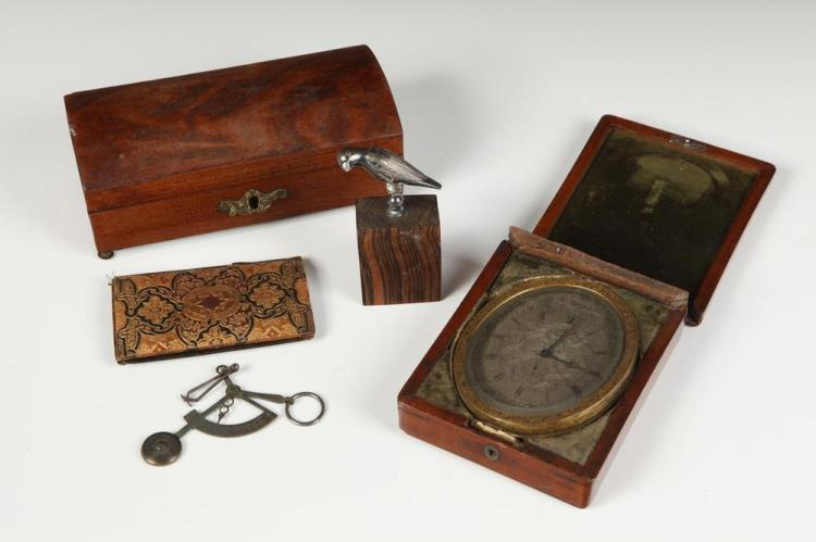 4 LATE 18TH/EARLY 19TH CENT. OBJECTS INCLUD. A RUSSIAN WOOD CASED CLOCK & A CONTINENTAL SILVER CORKSCREW, POSSIBLY DUTCH, 18th/19th Cen