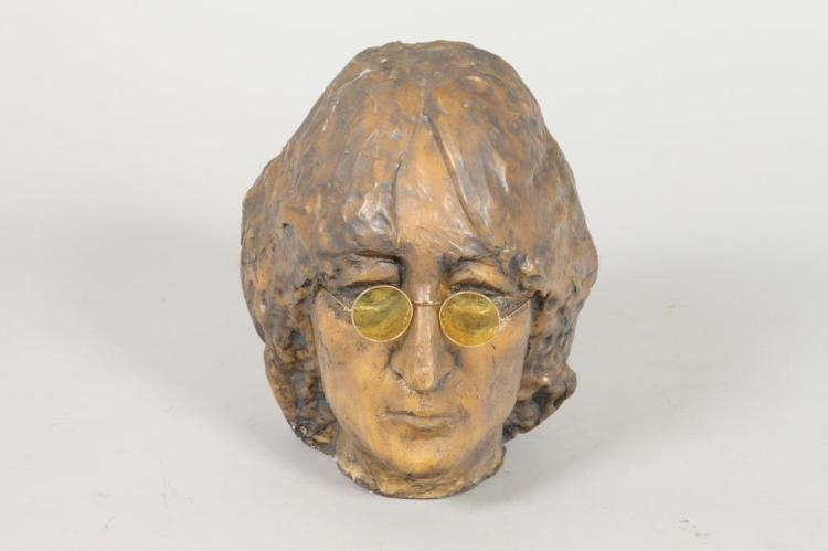 GEORGE CARR. (American, 20th century). BUST OF JOHN LENNON, signed. Wax over plaster sculpture.