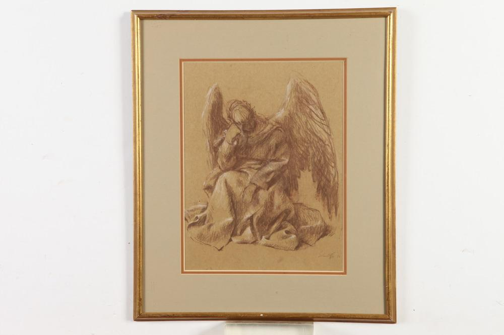NICHOLAS SOLOVIOFF (Russian/American, 20th century). RESTING ANGEL, signed and dated '76 lower right. Conte crayon with white highligh