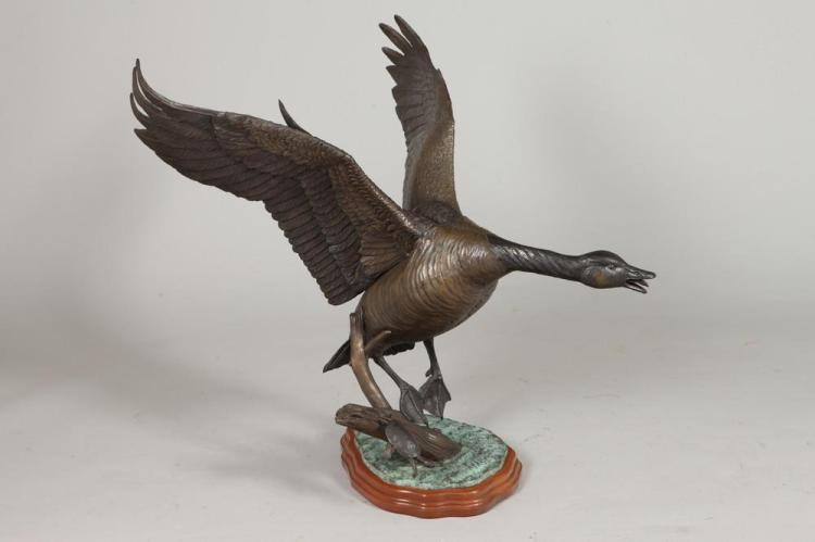 DAVID H. TURNER (American, b. 1961). CANADA GOOSE LANDING, signed, dated 1988 and numbered 3/25. Bronze.