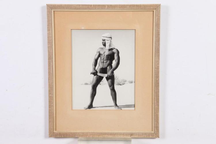 BRUCE OF LOS ANGELES, AFRICAN-AMERICAN MODEL, GAY INTEREST, 1950's-60's. - 10 in. x 8 in.; framed, 15 in. x 12.75 in.