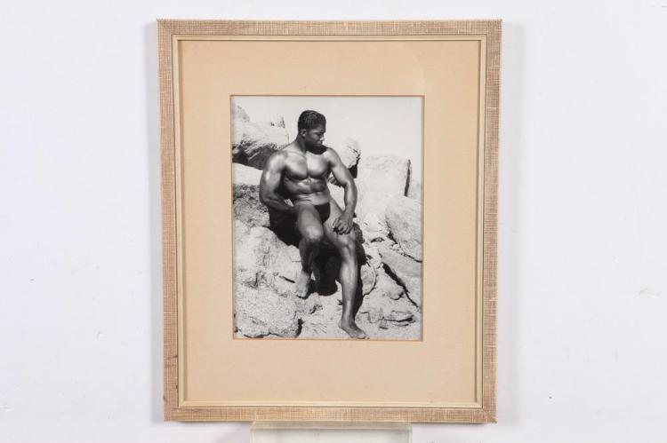 BRUCE OF LOS ANGELES, AFRICAN-AMERICAN MODEL, GAY INTEREST, 1950's-60's. - 10 in. x 8 in.;framed, 15 in, x 12.75 in.