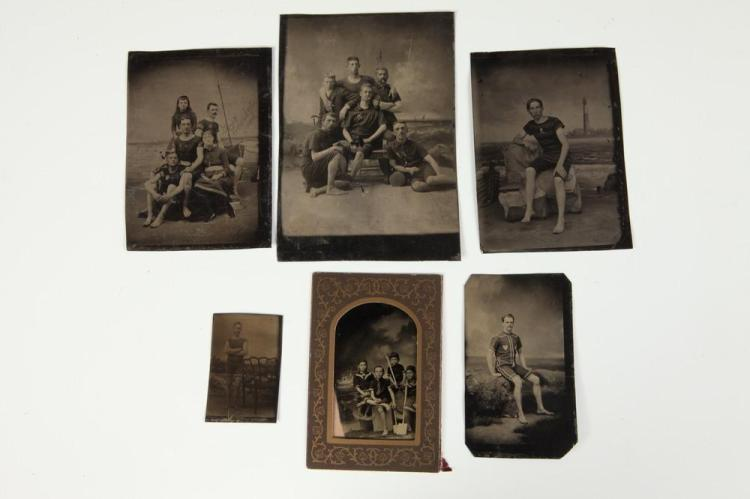 SIX TINTYPES OF PEOPLE IN BATHING SUITS, GAY INTEREST, circa 1900. - Largest, 6 in. x 4.25 in.