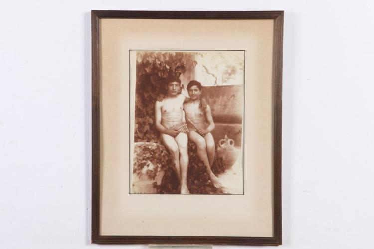 GAETANO D'AGATA, TWO NUDE YOUTHS, circa 1900. - 14.5 in. x 10.25 in.; framed, 22 in. x 18 in.