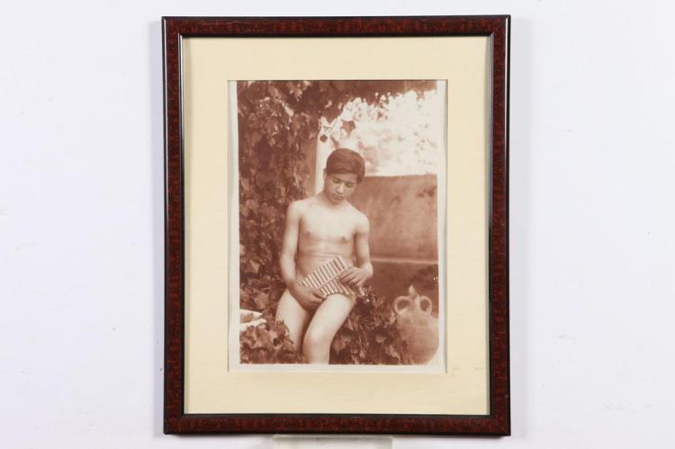 GAETANO D'AGATA, NUDE YOUTH, circa 1900. - 14.5 in. x 10 in.; framed, 21.5 in. x 17.75 in.