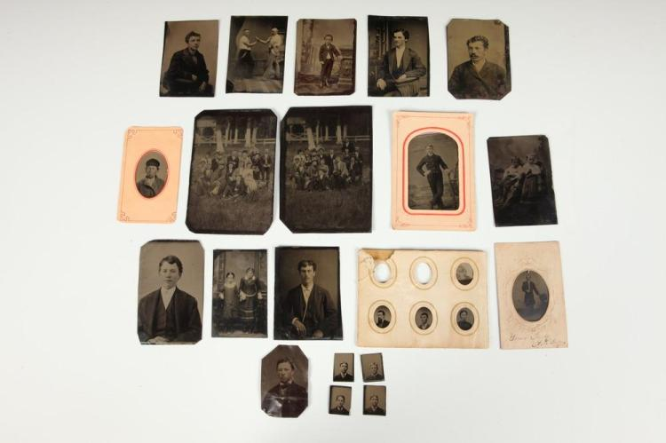 TWENTY-TWO TINTYPE PORTRAITS, circa 1900. - Most images 3.5 in. x 2.5 in. or smaller.