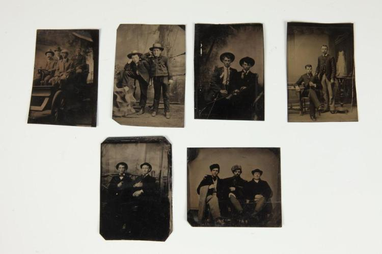 SIX TINTYPES OF MEN POSED WITH MEN, GAY INTEREST, circa 1900. - All images app. 3.5 in. x 2.5 in.