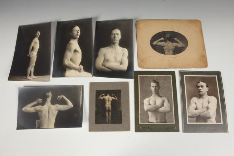 FOURTEEN MALE PHYSIQUE STUDIES, GAY INTEREST, late 19th century-early 20th century. - Largest 8 in. x 5 in.; cabinet cards, 6.5 in. x 4