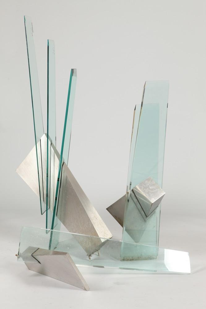 AMERICAN SCHOOL (20th century). ABSTRACT, glass and brushed metal sculpture.